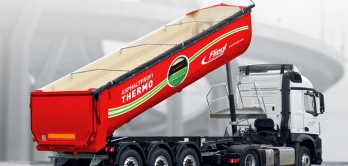 Sattelauflieger: Fliegl Asphaltprofi Thermo für den Einsatz im Straßenbau