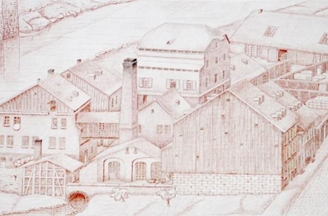 Im Jahr 1854 lassen die Söhne des Firmengründers, Johann Carl jr. und Friedrich, die Firma in das Handelsregister eintragen. Ab diesem Zeitpunkt firmiert sie unter der Bezeichnung Gebr. Schmidt OHG. Hier: Firmengebäude um 1840.