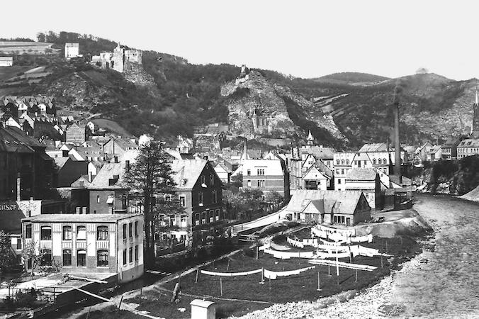 Produktion der Gebrüder Schmidt KG nach der wirtschaftlichen Neuausrichtung. Das Foto zeigt den Zustand nach 1929 auf der Au in Oberstein.