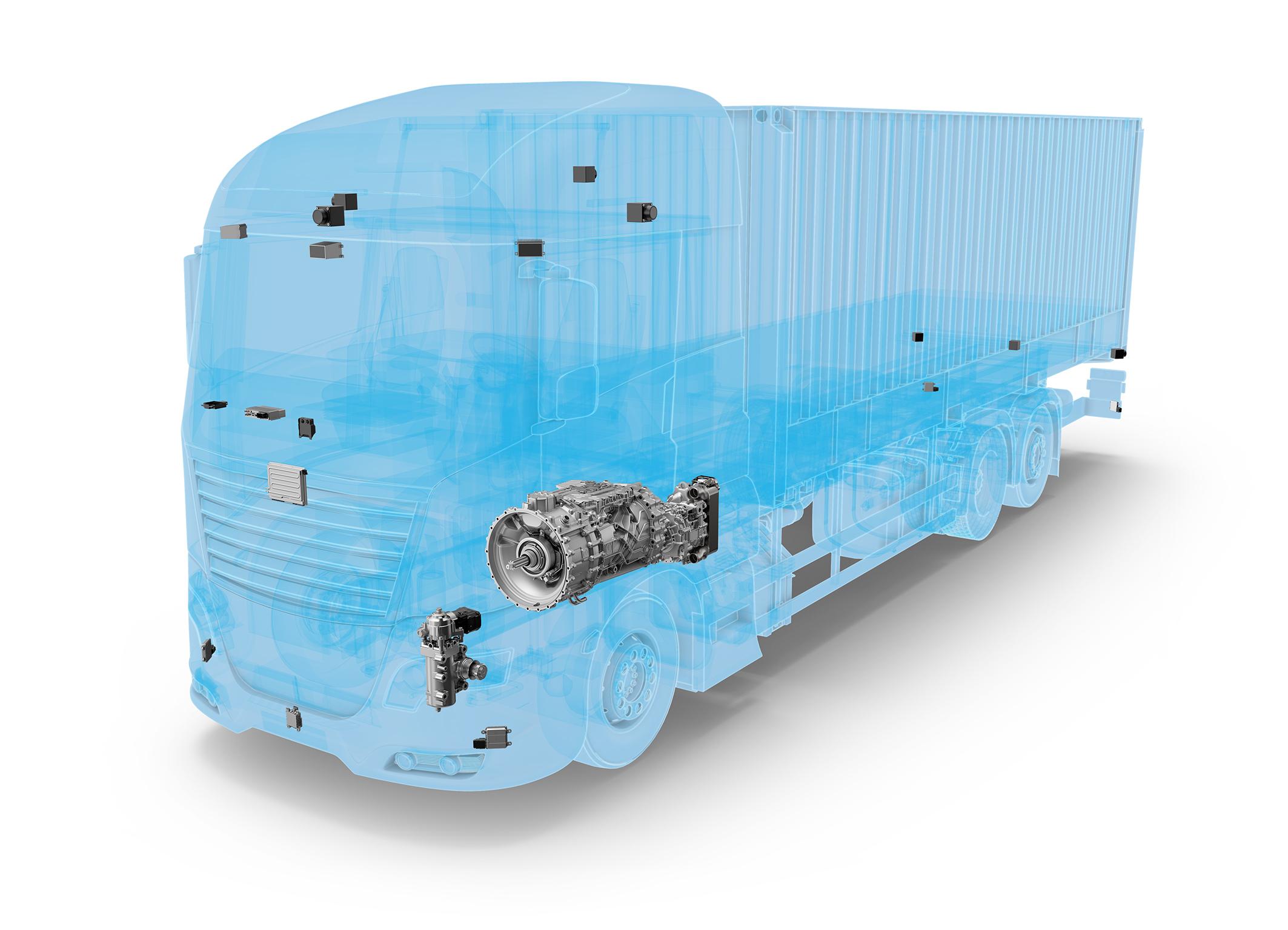 Intelligente Logistik dank ZF-Systemen: Im ZF Innovation Truck fungiert der Zentralcomputer ZF ProAI als Gehirn, andere ZF-Produkte machen ihn handlungsfähig, etwa die aktive elektrohydraulische Nutzfahrzeuglenkung ReAX und das automatische Getriebesystem TraXon Hybrid.