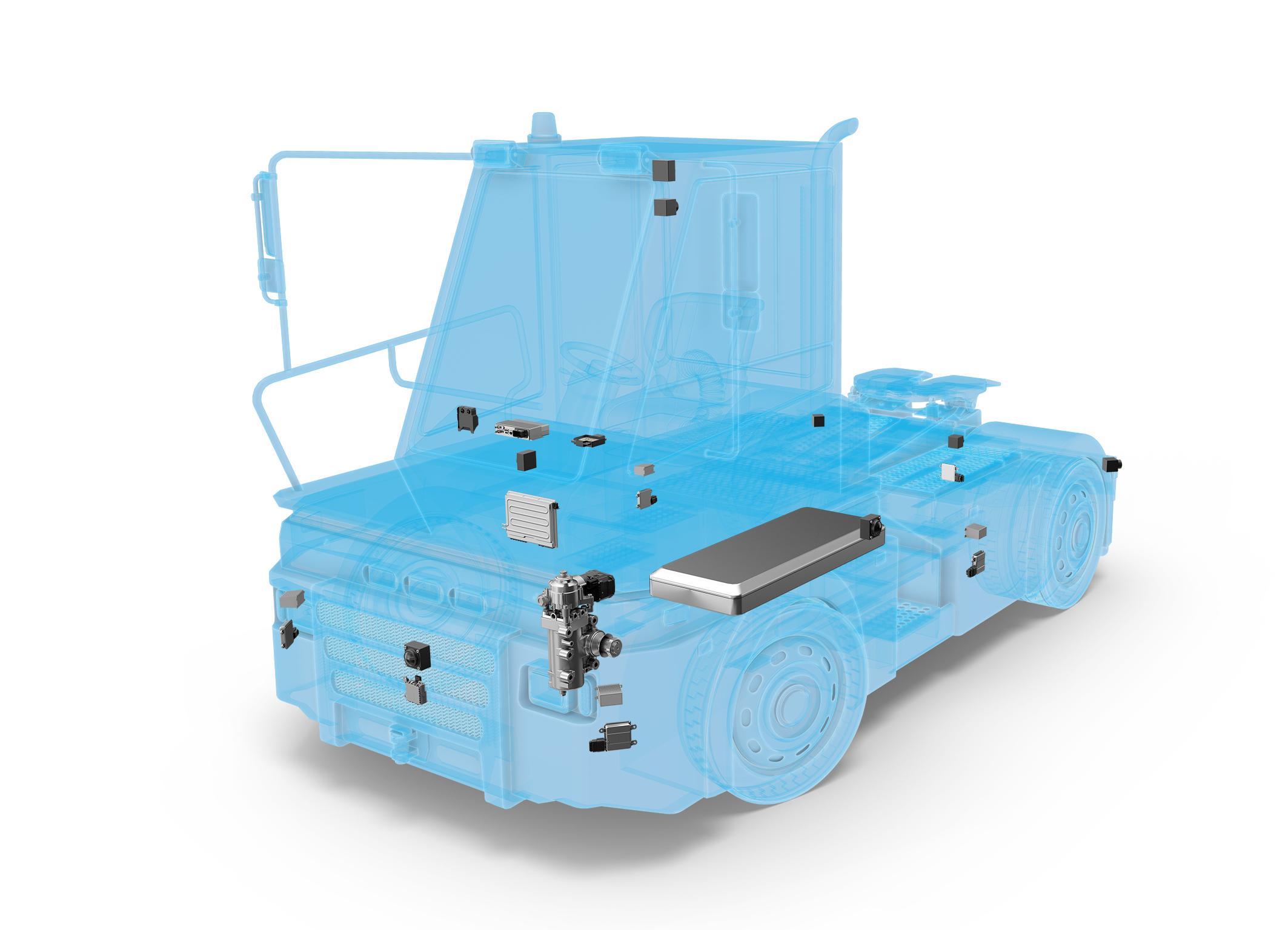 Systemkompetenz von ZF macht Logistik intelligent: Das erweiterte Sensor-Set lässt den Terminal Yard Tractor seine Umgebung im Blick behalten, der Zentralcomputer ZF ProAI koordiniert alle Funktionen der Längs- und Querführung.