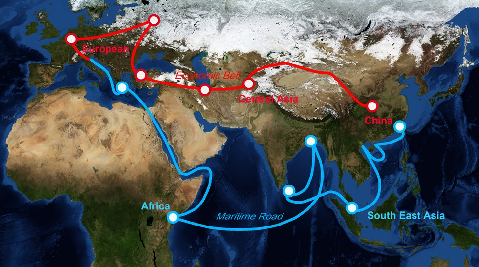 """Karte: die Neue Seidenstraße """"One Belt One Road"""". Chinas jüngstes Prestigeprojekt."""